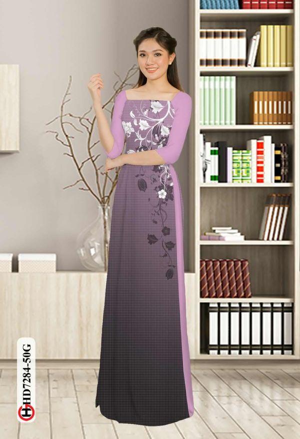 Vải áo dài hoa in 3D AD HD7284 10
