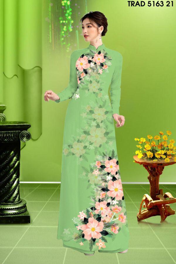 Vải áo dài hoa in 3D AD TRAD 5163 12