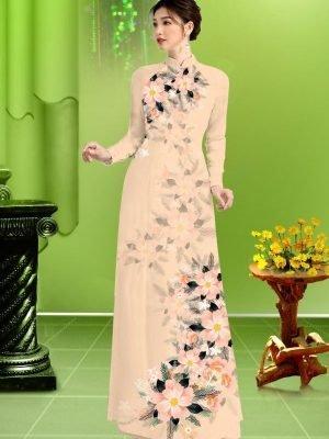Vải áo dài hoa in 3D AD TRAD 5163 20