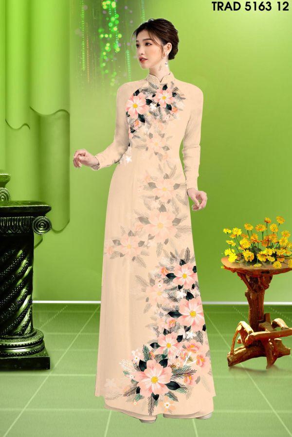 Vải áo dài hoa in 3D AD TRAD 5163 3