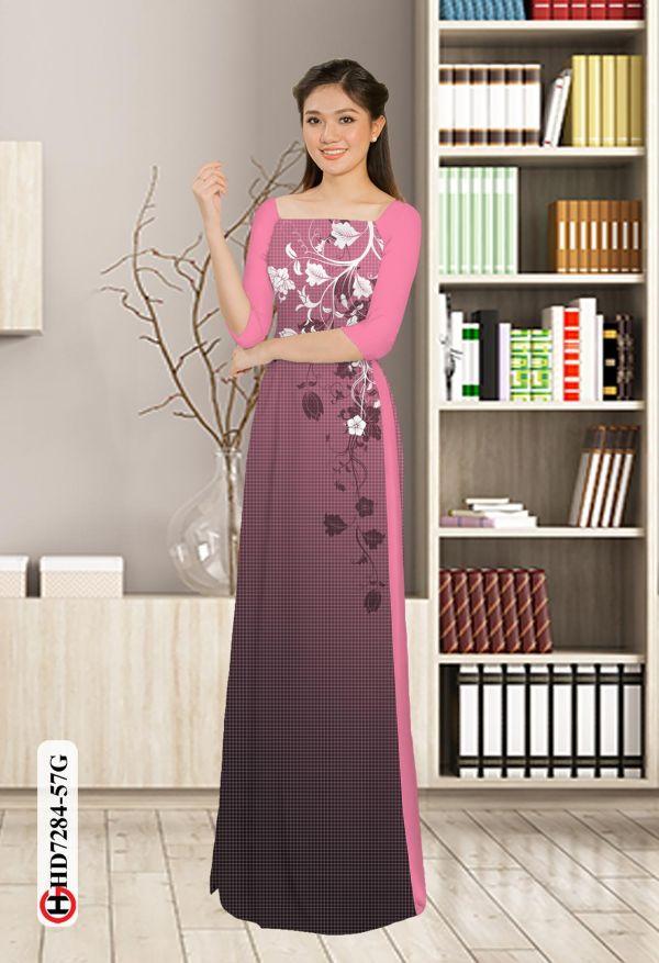 Vải áo dài hoa in 3D AD HD7284 11