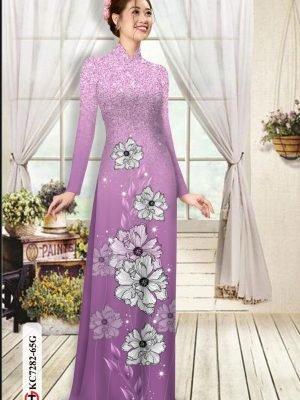 Vải áo dài hoa in 3D AD KC7282 21
