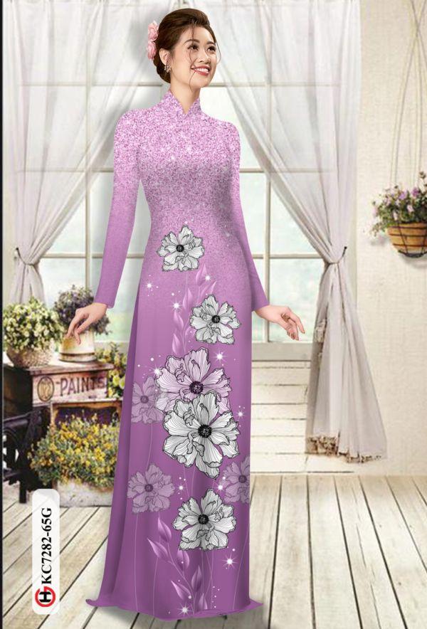 Vải áo dài hoa in 3D AD KC7282 8