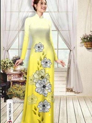 Vải áo dài hoa in 3D AD KC7282 20