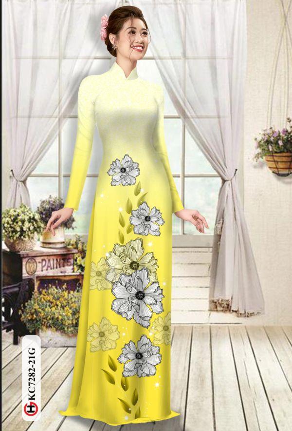 Vải áo dài hoa in 3D AD KC7282 7
