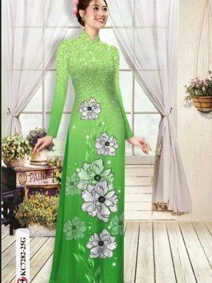 Vải áo dài hoa in 3D AD KC7282 17