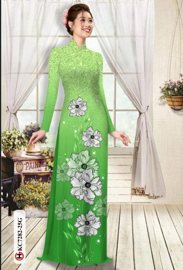 Vải áo dài hoa in 3D AD KC7282 4