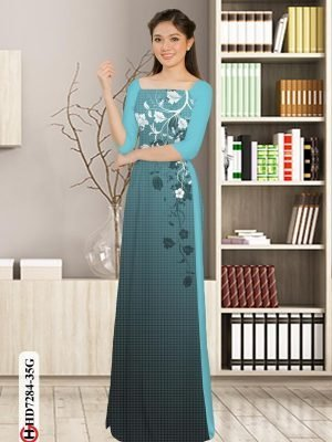 Vải áo dài hoa in 3D AD HD7284 20