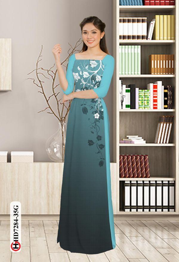 Vải áo dài hoa in 3D AD HD7284 6