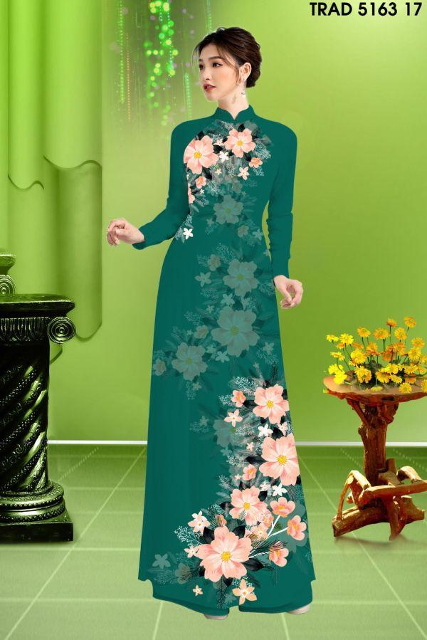 Vải áo dài hoa in 3D AD TRAD 5163 8
