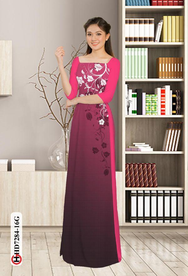 Vải áo dài hoa in 3D AD HD7284 3