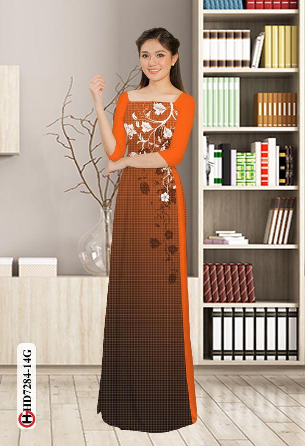 Vải áo dài hoa in 3D AD HD7284 1
