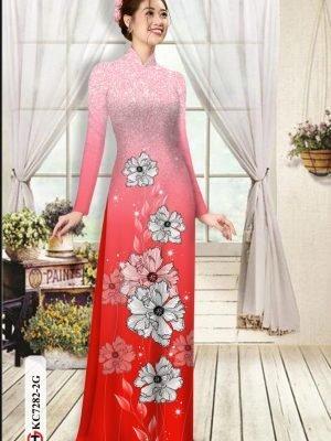 Vải áo dài hoa in 3D AD KC7282 19
