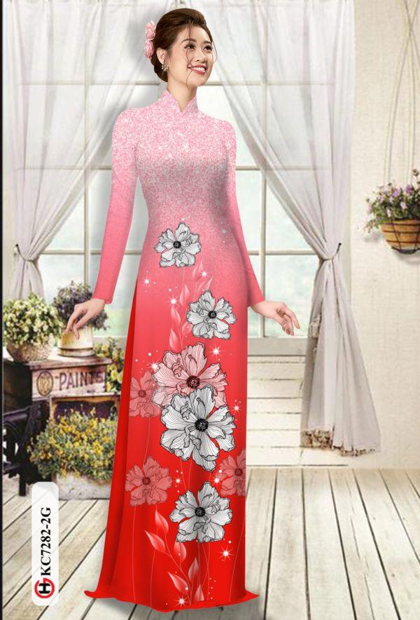 Vải áo dài hoa in 3D AD KC7282 6