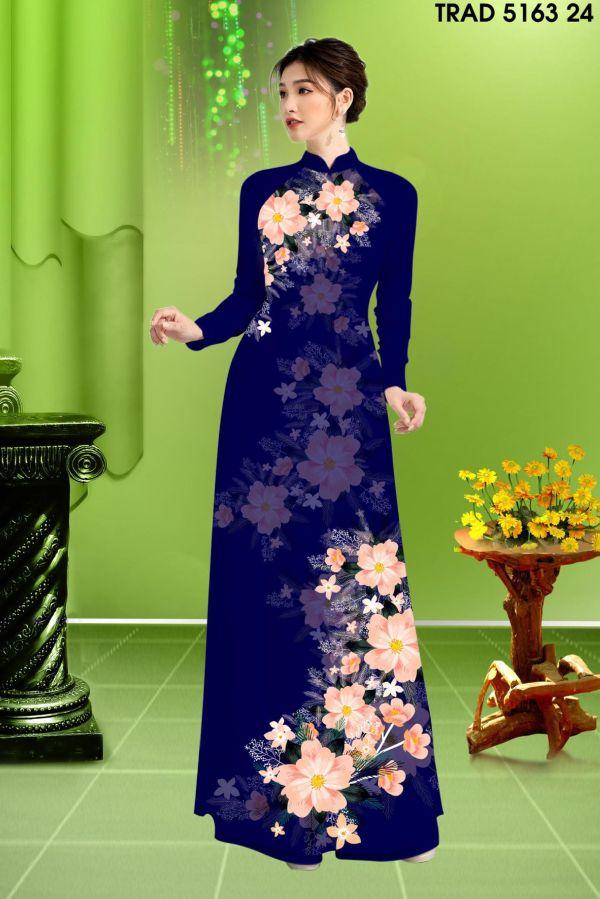 Vải áo dài hoa in 3D AD TRAD 5163 15