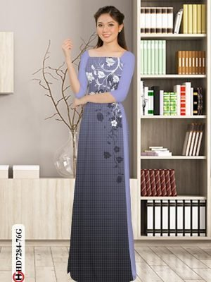Vải áo dài hoa in 3D AD HD7284 29