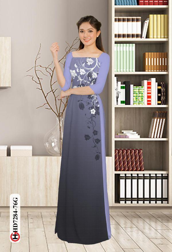 Vải áo dài hoa in 3D AD HD7284 15