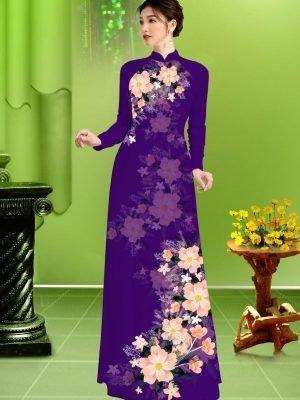 Vải áo dài hoa in 3D AD TRAD 5163 23