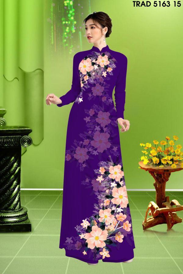 Vải áo dài hoa in 3D AD TRAD 5163 6