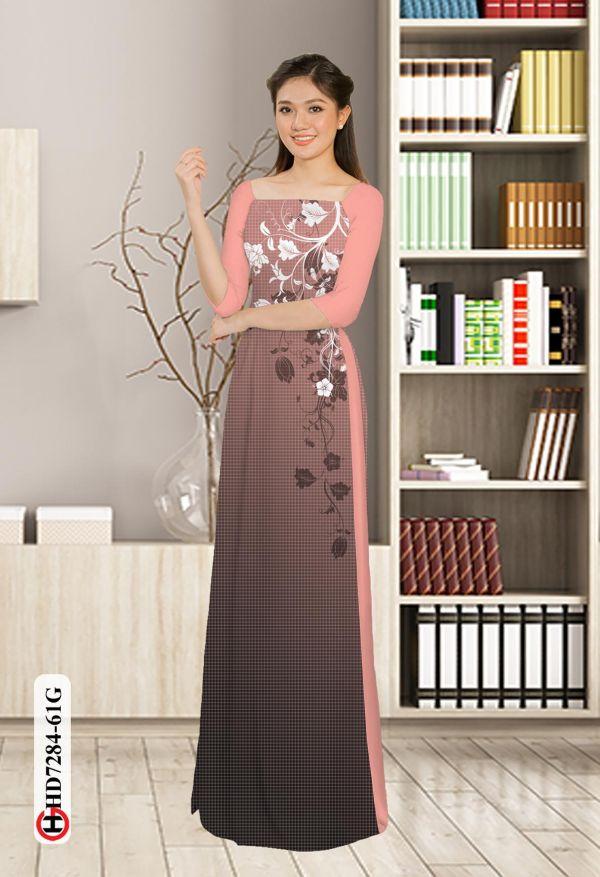Vải áo dài hoa in 3D AD HD7284 13