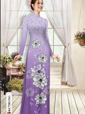 Vải áo dài hoa in 3D AD KC7282 25