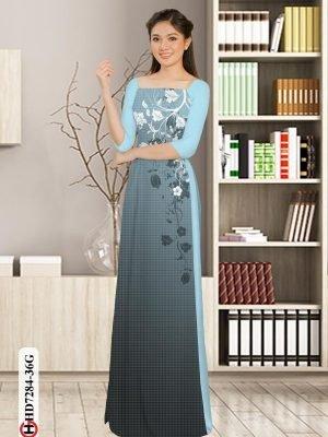 Vải áo dài hoa in 3D AD HD7284 22