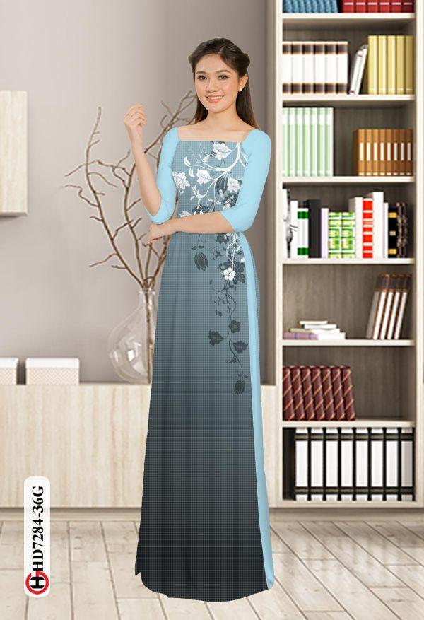 Vải áo dài hoa in 3D AD HD7284 8