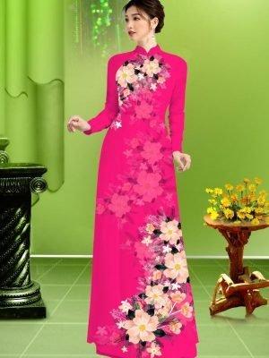 Vải áo dài hoa in 3D AD TRAD 5163 26