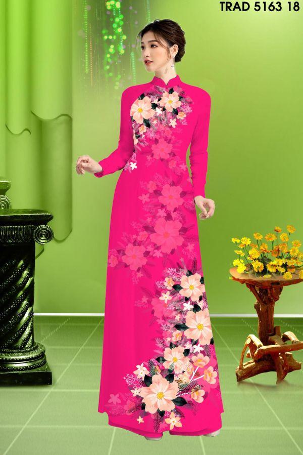 Vải áo dài hoa in 3D AD TRAD 5163 9