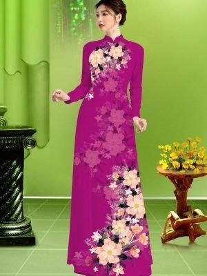 Vải áo dài hoa in 3D AD TRAD 5163 33