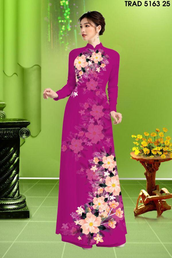 Vải áo dài hoa in 3D AD TRAD 5163 16