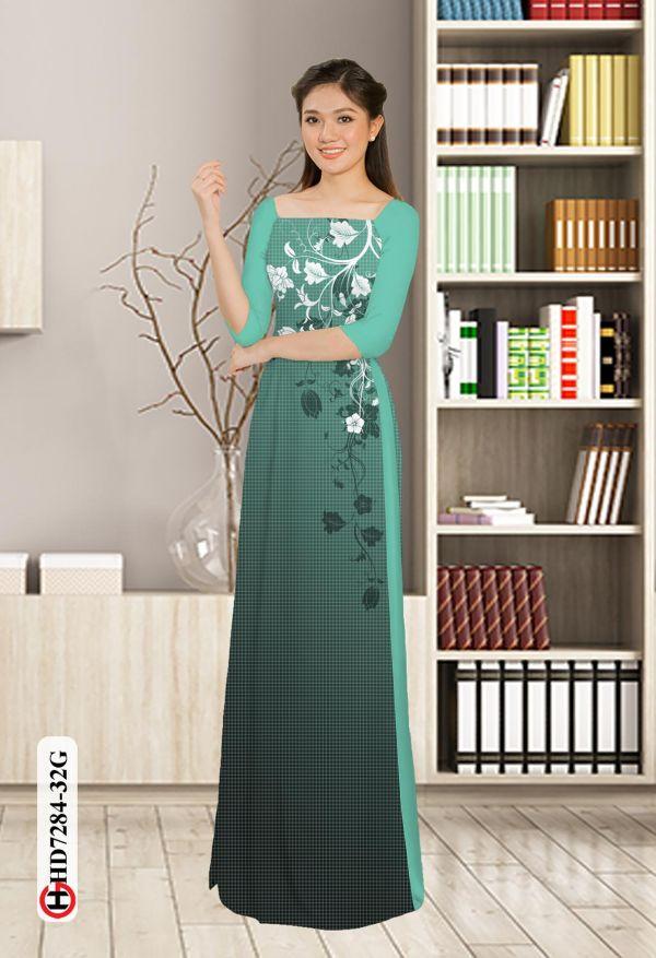 Vải áo dài hoa in 3D AD HD7284 5