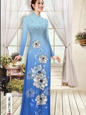 Vải áo dài hoa in 3D AD KC7282 15