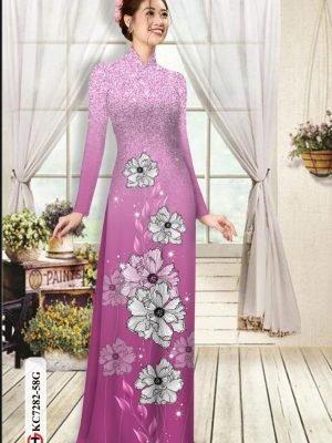 Vải áo dài hoa in 3D AD KC7282 22