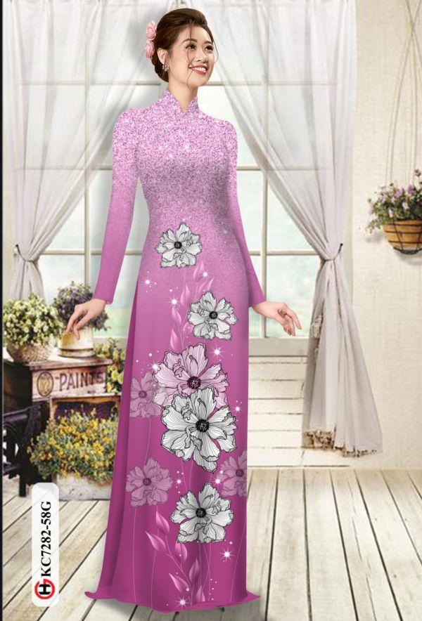 Vải áo dài hoa in 3D AD KC7282 9