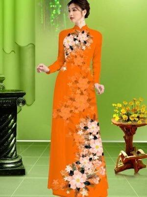 Vải áo dài hoa in 3D AD TRAD 5163 21