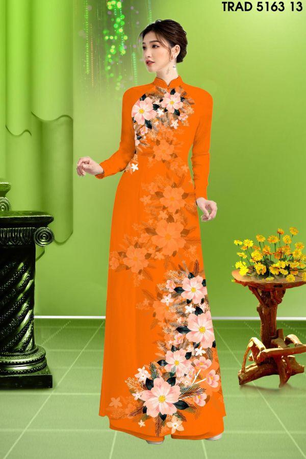 Vải áo dài hoa in 3D AD TRAD 5163 4