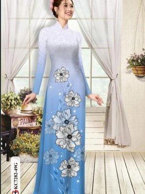 Vải áo dài hoa in 3D AD KC7282 26