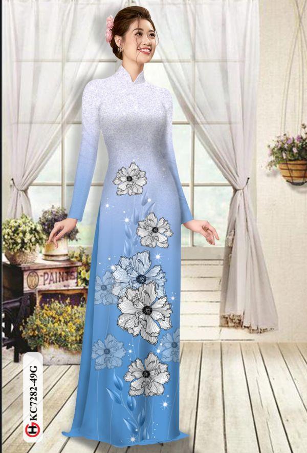 Vải áo dài hoa in 3D AD KC7282 13