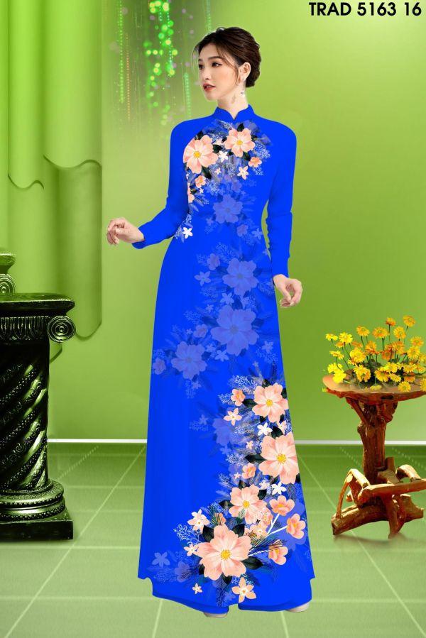 Vải áo dài hoa in 3D AD TRAD 5163 7