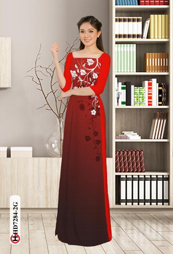 Vải áo dài hoa in 3D AD HD7284 2