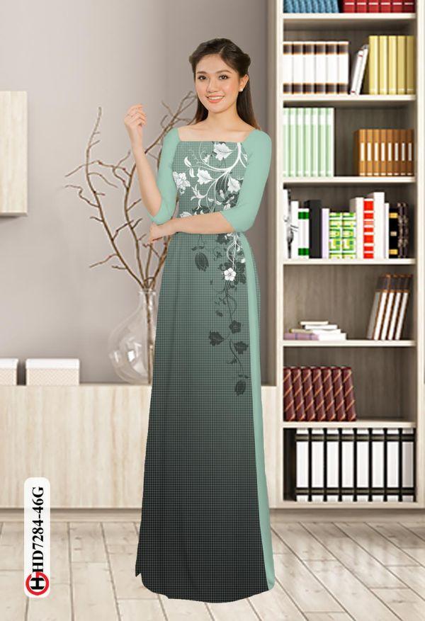 Vải áo dài hoa in 3D AD HD7284 9