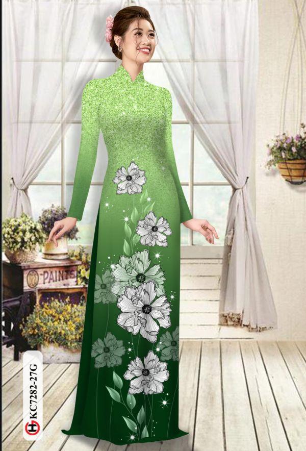 Vải áo dài hoa in 3D AD KC7282 1