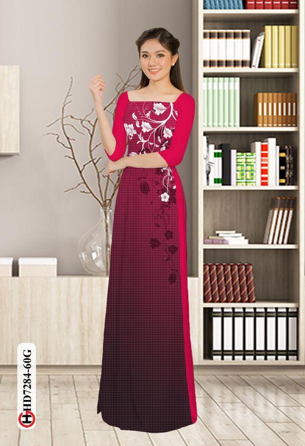 Vải áo dài hoa in 3D AD HD7284 12