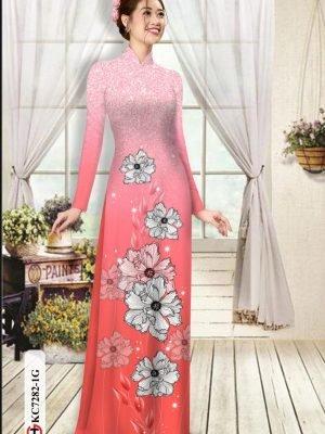Vải áo dài hoa in 3D AD KC7282 23