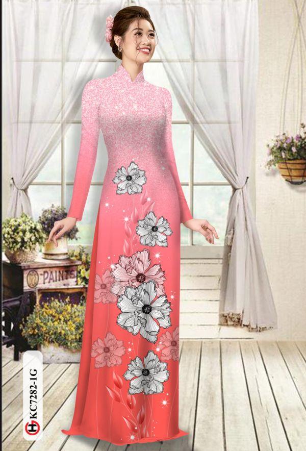Vải áo dài hoa in 3D AD KC7282 10