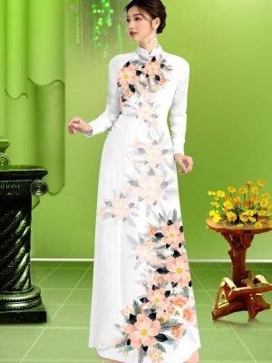 Vải áo dài hoa in 3D AD TRAD 5163 19