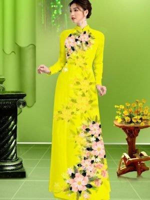 Vải áo dài hoa in 3D AD TRAD 5163 34