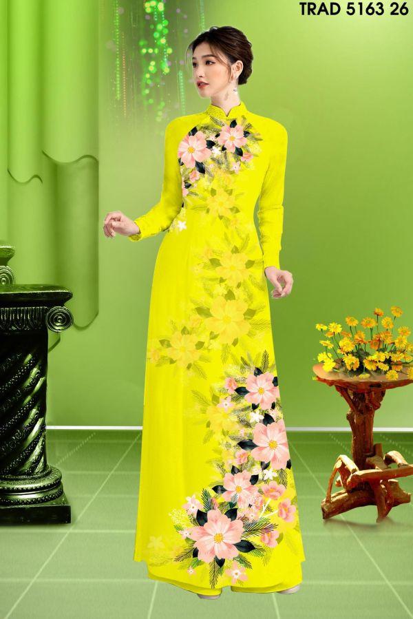 Vải áo dài hoa in 3D AD TRAD 5163 17