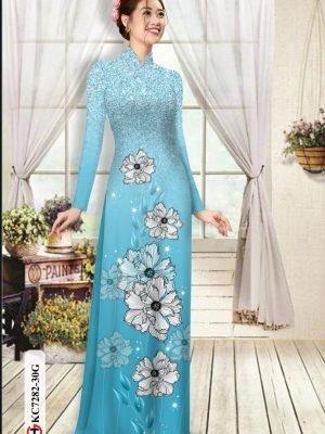 Vải áo dài hoa in 3D AD KC7282 16